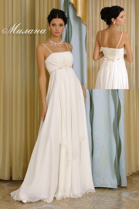 Свадебное платье Милана на тонких бретелях